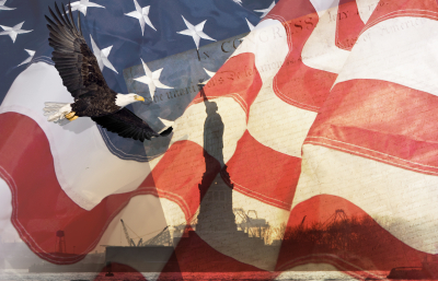 American flag and eagle montage with statue of liberty and constitution.